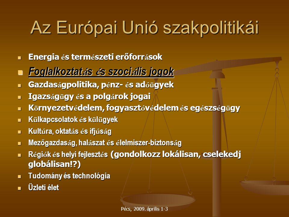 Pécs, 2009. április 1-3 Az Európai Unió szakpolitikái Energia é s term é szeti erőforr á sok Energia é s term é szeti erőforr á sok Foglalkoztat á s é