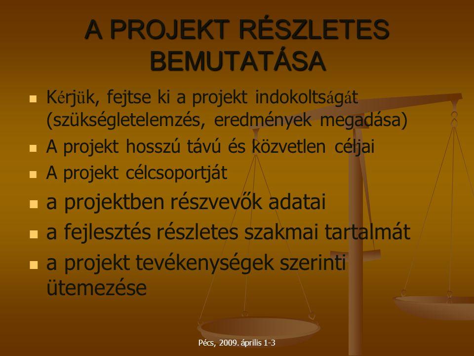 Pécs, 2009. április 1-3 A PROJEKT RÉSZLETES BEMUTATÁSA K é rj ü k, fejtse ki a projekt indokolts á g á t (szükségletelemzés, eredmények megadása) A pr