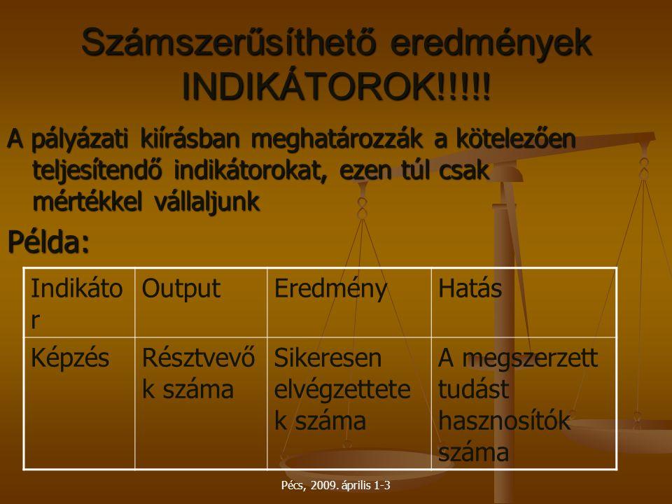 Pécs, 2009. április 1-3 Számszerűsíthető eredmények INDIKÁTOROK!!!!! A pályázati kiírásban meghatározzák a kötelezően teljesítendő indikátorokat, ezen