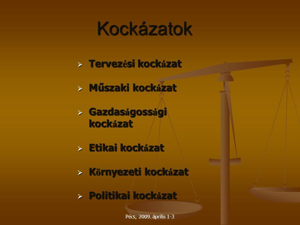Pécs, 2009. április 1-3 Kockázatok  Tervez é si kock á zat  Műszaki kock á zat  Gazdas á goss á gi kock á zat  Etikai kock á zat  K ö rnyezeti ko
