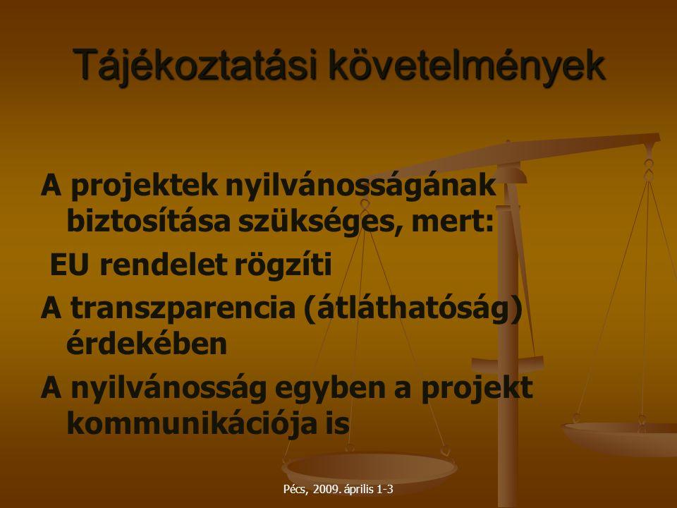 Pécs, 2009. április 1-3 Tájékoztatási követelmények A projektek nyilvánosságának biztosítása szükséges, mert: EU rendelet rögzíti A transzparencia (át