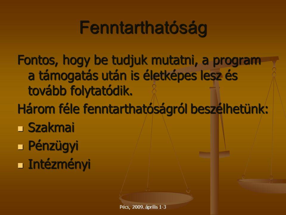 Pécs, 2009. április 1-3 Fenntarthatóság Fontos, hogy be tudjuk mutatni, a program a támogatás után is életképes lesz és tovább folytatódik. Három féle
