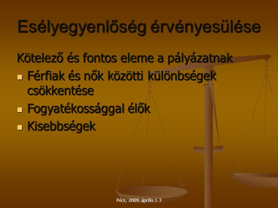 Pécs, 2009. április 1-3 Esélyegyenlőség érvényesülése Kötelező és fontos eleme a pályázatnak Férfiak és nők közötti különbségek csökkentése Férfiak és