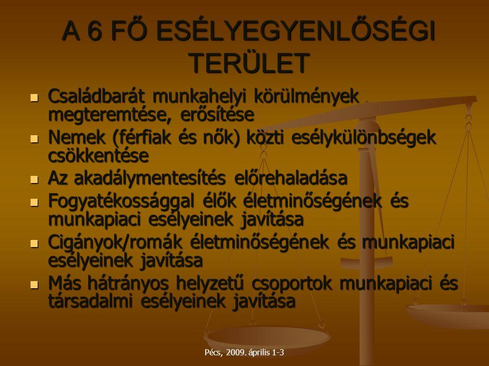 Pécs, 2009. április 1-3 A 6 FŐ ESÉLYEGYENLŐSÉGI TERÜLET Családbarát munkahelyi körülmények megteremtése, erősítése Családbarát munkahelyi körülmények