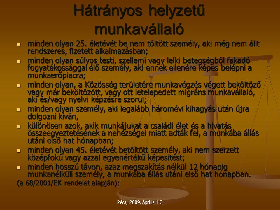 Pécs, 2009. április 1-3 Hátrányos helyzetű munkavállaló minden olyan 25. életévét be nem töltött személy, aki még nem állt rendszeres, fizetett alkalm