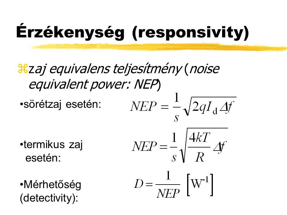 Érzékenység (responsivity) zzaj equivalens teljesítmény (noise equivalent power: NEP) sörétzaj esetén: termikus zaj esetén: Mérhetőség (detectivity):