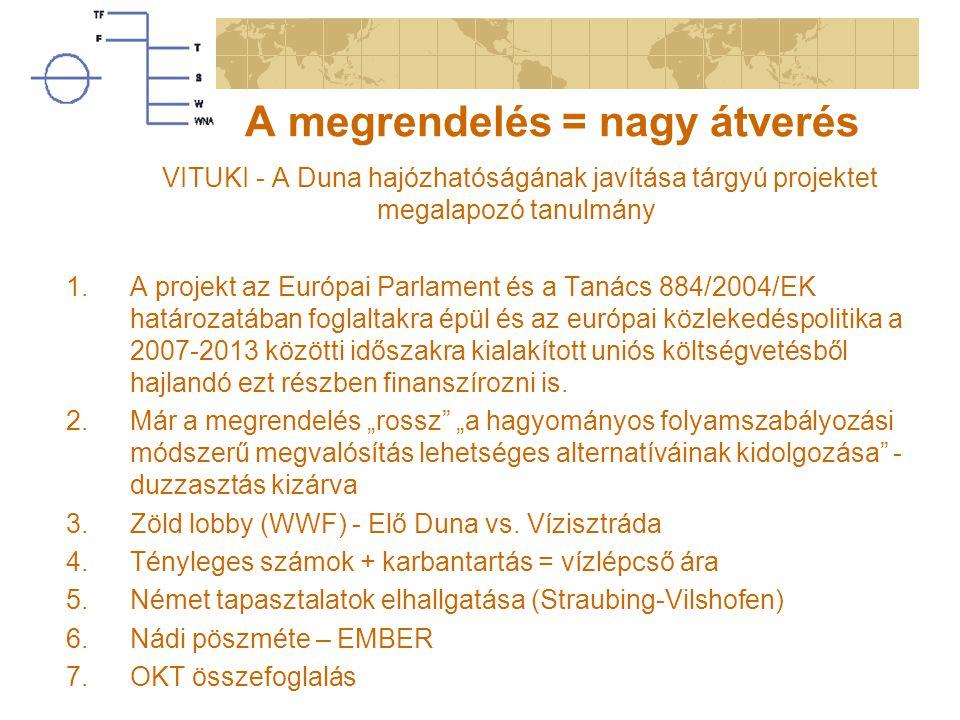 A megrendelés = nagy átverés VITUKI - A Duna hajózhatóságának javítása tárgyú projektet megalapozó tanulmány 1.A projekt az Európai Parlament és a Tanács 884/2004/EK határozatában foglaltakra épül és az európai közlekedéspolitika a 2007-2013 közötti időszakra kialakított uniós költségvetésből hajlandó ezt részben finanszírozni is.