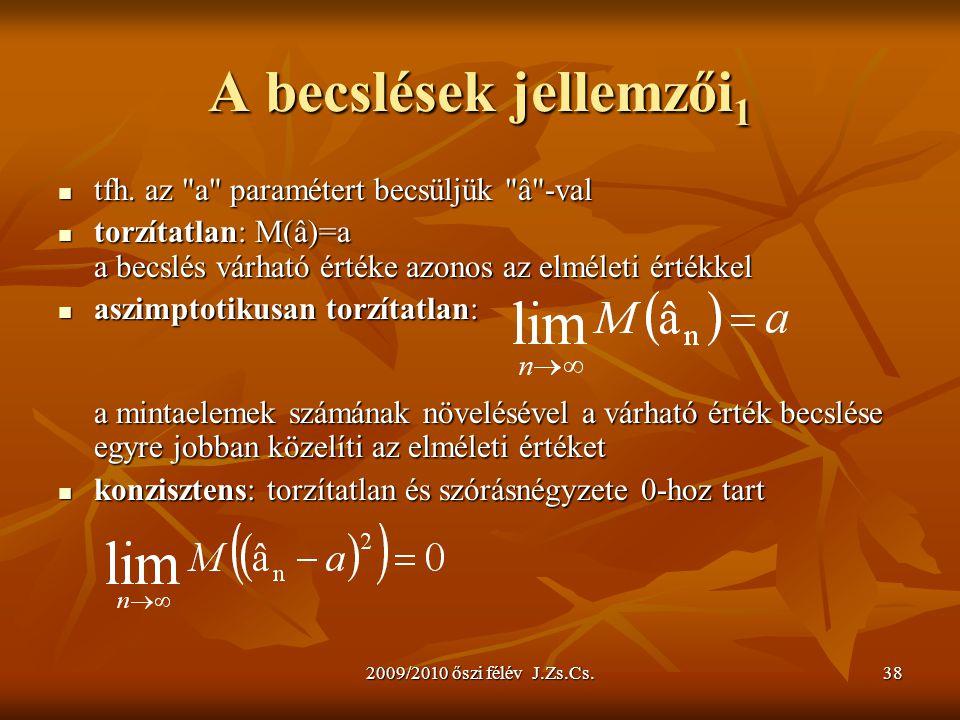 2009/2010 őszi félév J.Zs.Cs.38 A becslések jellemzői 1 tfh. az