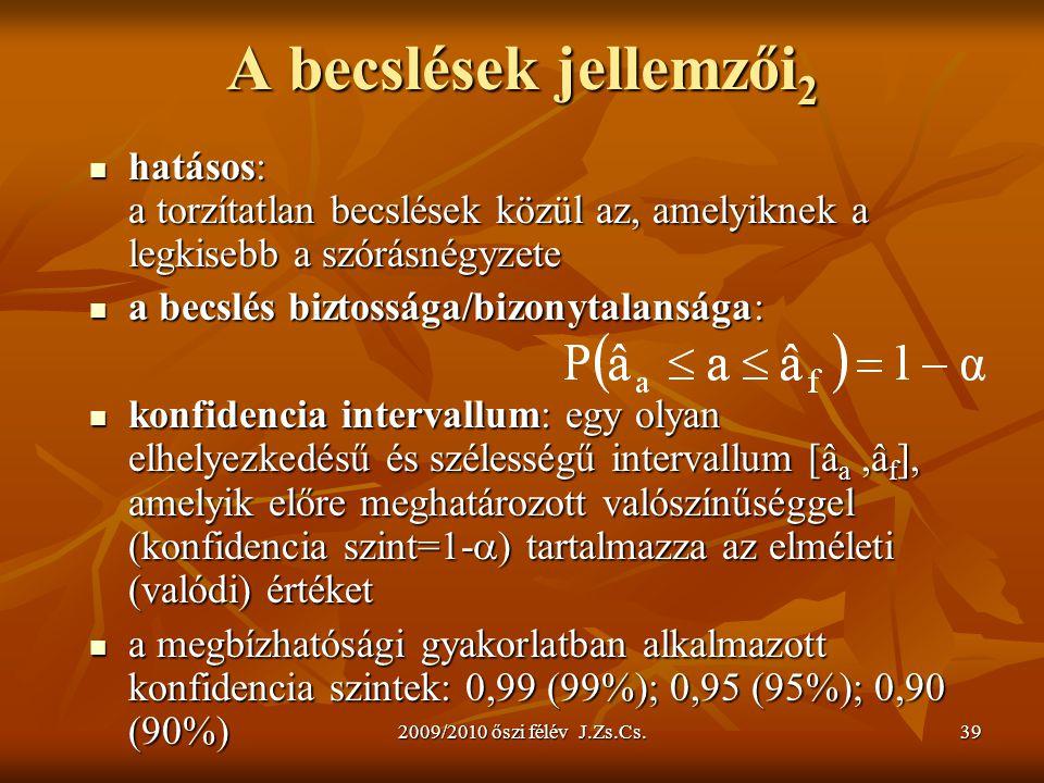 2009/2010 őszi félév J.Zs.Cs.39 A becslések jellemzői 2 hatásos: a torzítatlan becslések közül az, amelyiknek a legkisebb a szórásnégyzete hatásos: a