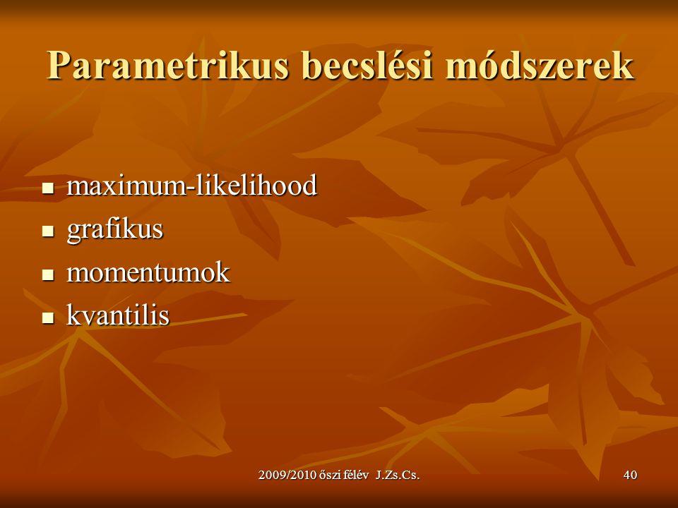 2009/2010 őszi félév J.Zs.Cs.40 Parametrikus becslési módszerek maximum-likelihood maximum-likelihood grafikus grafikus momentumok momentumok kvantilis kvantilis