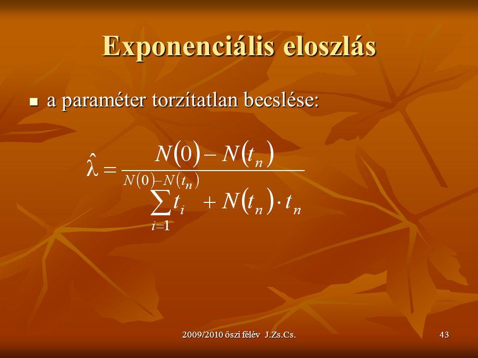 2009/2010 őszi félév J.Zs.Cs.43 Exponenciális eloszlás a paraméter torzítatlan becslése: a paraméter torzítatlan becslése: