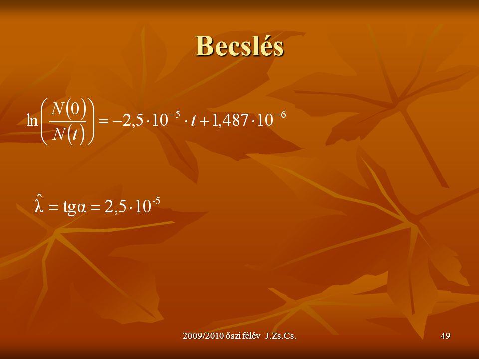 2009/2010 őszi félév J.Zs.Cs.49 Becslés