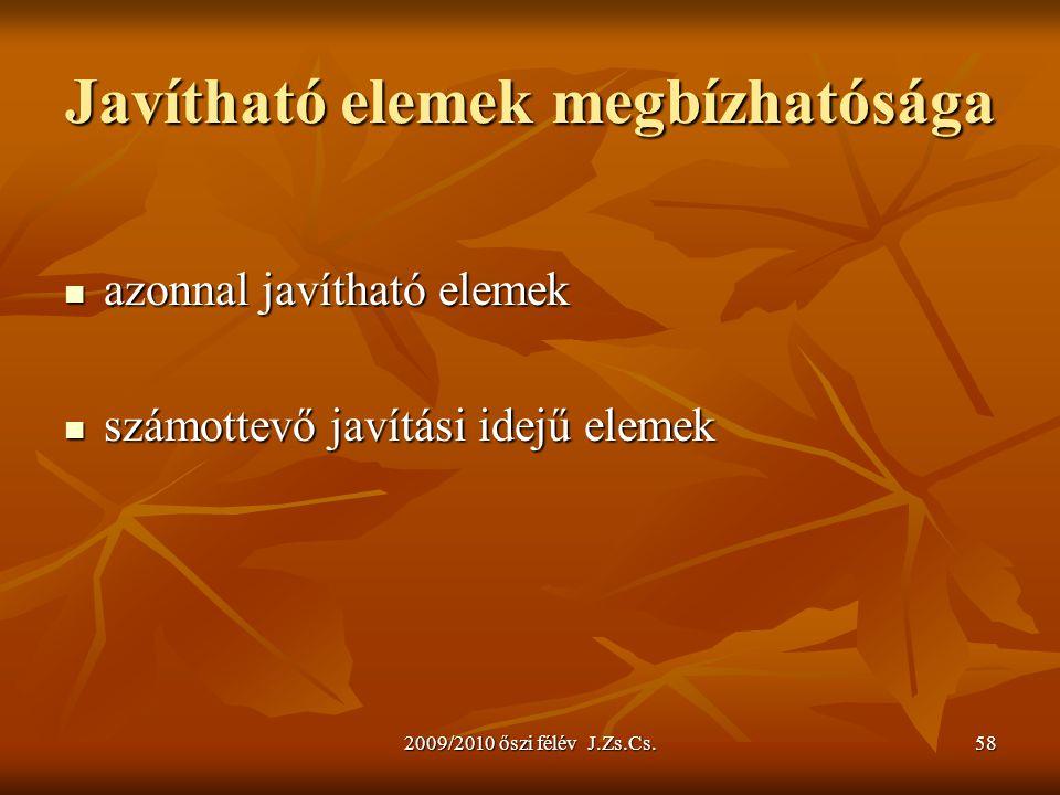 2009/2010 őszi félév J.Zs.Cs.58 Javítható elemek megbízhatósága azonnal javítható elemek azonnal javítható elemek számottevő javítási idejű elemek szá