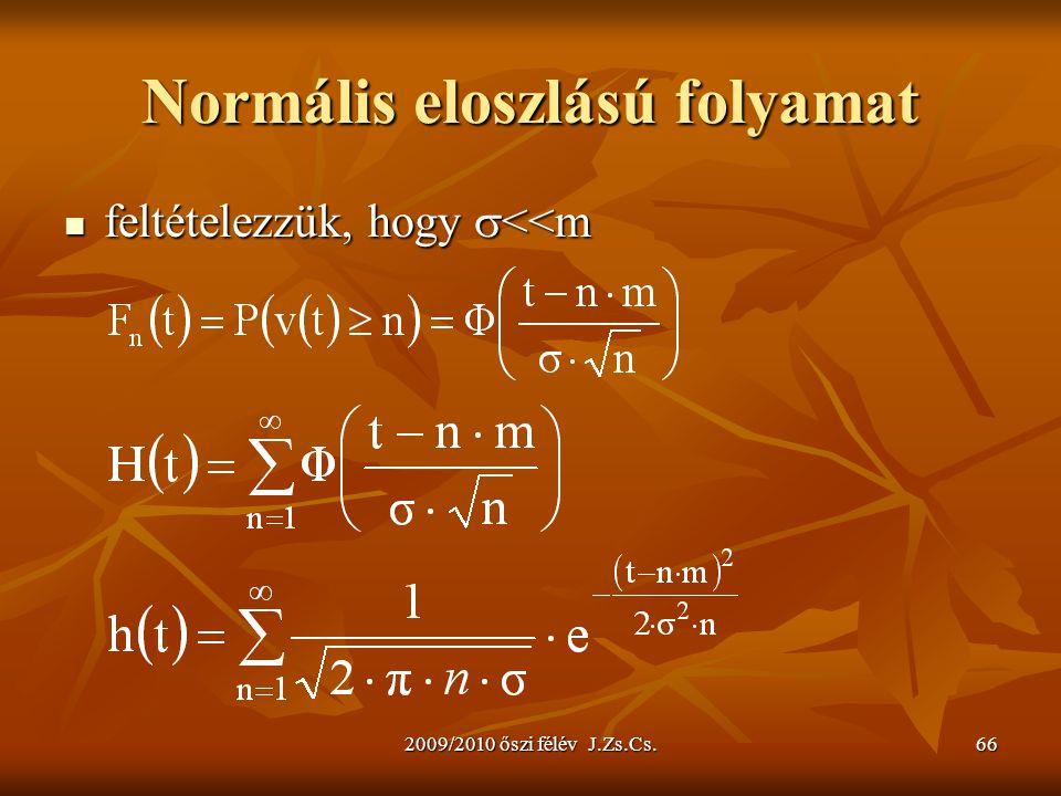 2009/2010 őszi félév J.Zs.Cs.66 Normális eloszlású folyamat feltételezzük, hogy  <<m feltételezzük, hogy  <<m