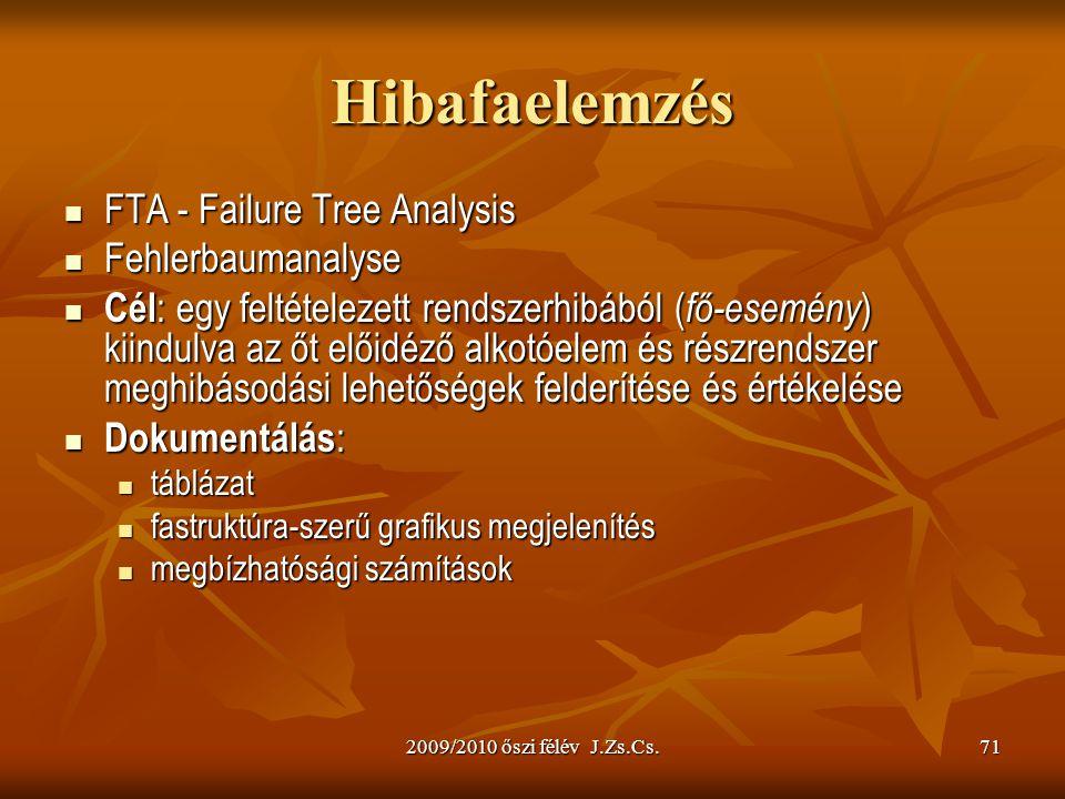 2009/2010 őszi félév J.Zs.Cs.71 Hibafaelemzés FTA - Failure Tree Analysis FTA - Failure Tree Analysis Fehlerbaumanalyse Fehlerbaumanalyse Cél : egy feltételezett rendszerhibából ( fő-esemény ) kiindulva az őt előidéző alkotóelem és részrendszer meghibásodási lehetőségek felderítése és értékelése Cél : egy feltételezett rendszerhibából ( fő-esemény ) kiindulva az őt előidéző alkotóelem és részrendszer meghibásodási lehetőségek felderítése és értékelése Dokumentálás : Dokumentálás : táblázat táblázat fastruktúra-szerű grafikus megjelenítés fastruktúra-szerű grafikus megjelenítés megbízhatósági számítások megbízhatósági számítások