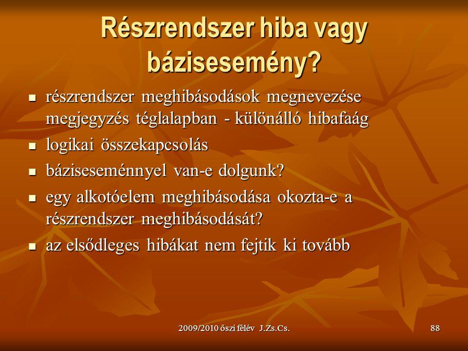 2009/2010 őszi félév J.Zs.Cs.88 Részrendszer hiba vagy bázisesemény? részrendszer meghibásodások megnevezése megjegyzés téglalapban - különálló hibafa