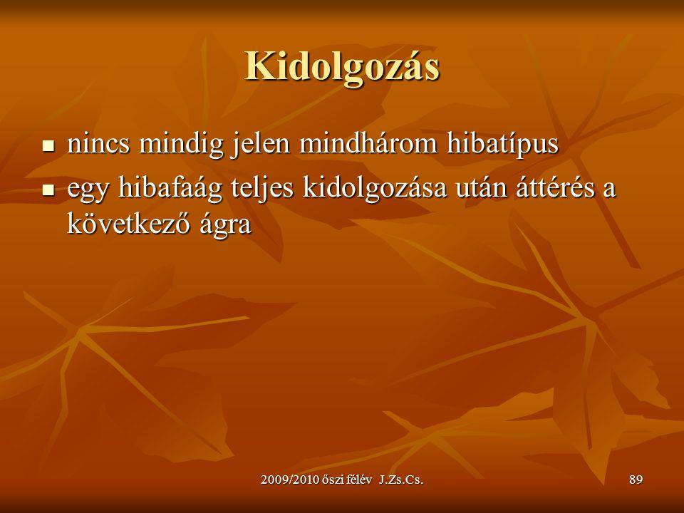 2009/2010 őszi félév J.Zs.Cs.89 Kidolgozás nincs mindig jelen mindhárom hibatípus nincs mindig jelen mindhárom hibatípus egy hibafaág teljes kidolgozá