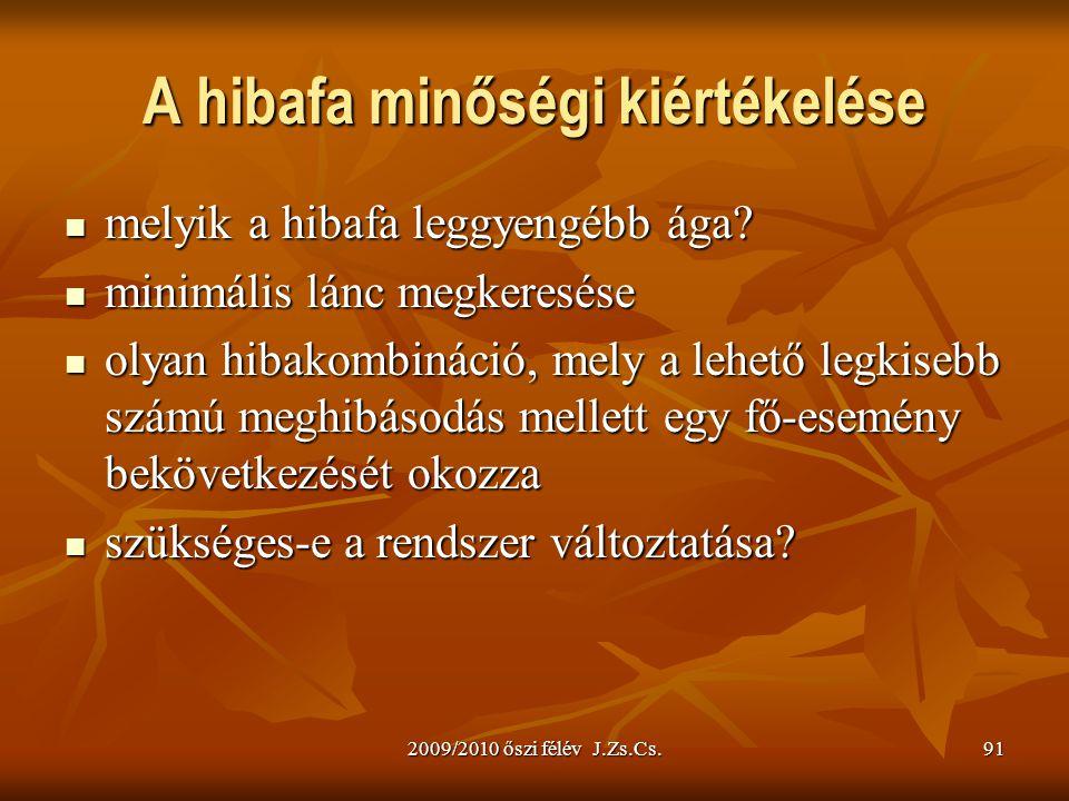 2009/2010 őszi félév J.Zs.Cs.91 A hibafa minőségi kiértékelése melyik a hibafa leggyengébb ága? melyik a hibafa leggyengébb ága? minimális lánc megker