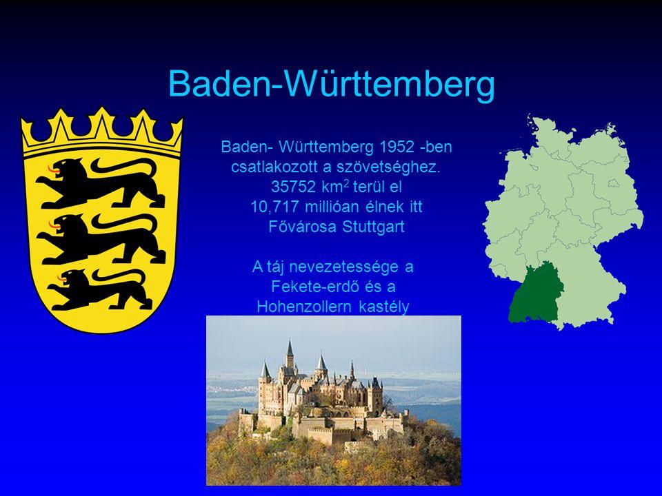 Baden-Württemberg Baden- Württemberg 1952 -ben csatlakozott a szövetséghez.