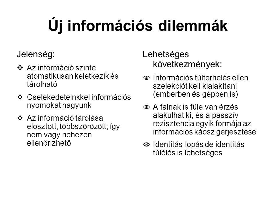 Új információs dilemmák Jelenség:  Az információ szinte atomatikusan keletkezik és tárolható  Cselekedeteinkkel információs nyomokat hagyunk  Az in