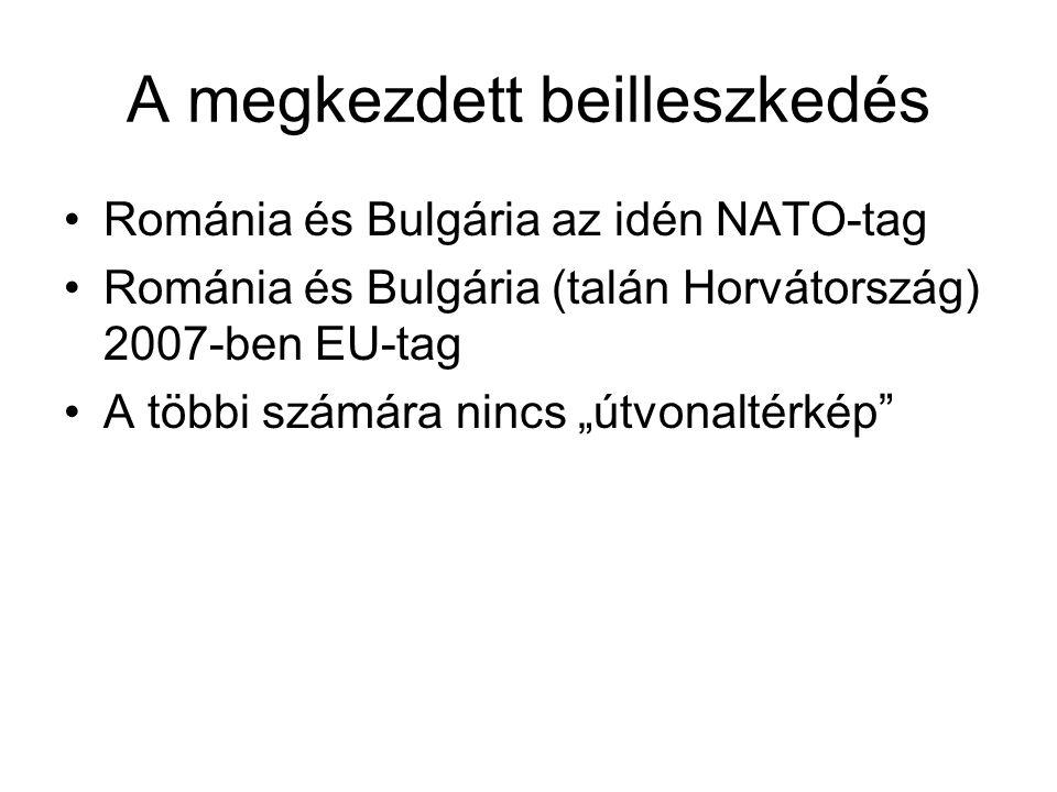 """A megkezdett beilleszkedés Románia és Bulgária az idén NATO-tag Románia és Bulgária (talán Horvátország) 2007-ben EU-tag A többi számára nincs """"útvonaltérkép"""