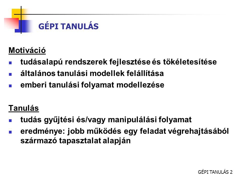 """GÉPI TANULÁS 3 GÉPI TANULÁS - MÓDSZEREK induktív tanulás tanuló példákból való általánosítás (példák  következtetések levonása) felügyelt (supervised) tanulás példák (x i, y i ) párok formájában, y i értékek  tanár ismeretlen f függvény megkeresése, f(x i ) = y i – hipotézis: becslés f- re Ockham borotvája (Ockham s razor): """"A legvalószínűbb hipotézis a legegyszerűbb olyan hipotézis, amely megfelel a megfigyeléseknek fogalmi tanulás (concept learning) – néhány y i érték esetén"""