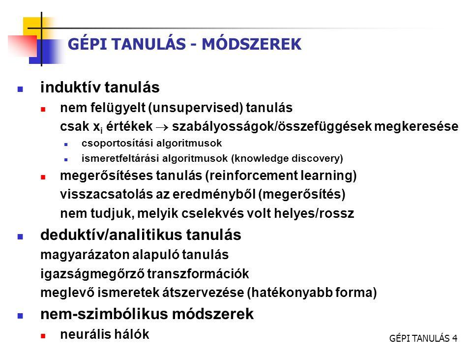 GÉPI TANULÁS 4 GÉPI TANULÁS - MÓDSZEREK induktív tanulás nem felügyelt (unsupervised) tanulás csak x i értékek  szabályosságok/összefüggések megkeres
