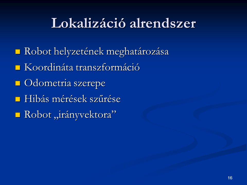 """16 Lokalizáció alrendszer Robot helyzetének meghatározása Robot helyzetének meghatározása Koordináta transzformáció Koordináta transzformáció Odometria szerepe Odometria szerepe Hibás mérések szűrése Hibás mérések szűrése Robot """"irányvektora Robot """"irányvektora"""