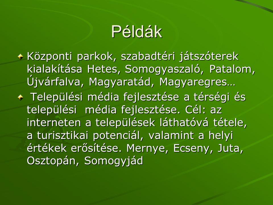 Példák Központi parkok, szabadtéri játszóterek kialakítása Hetes, Somogyaszaló, Patalom, Újvárfalva, Magyaratád, Magyaregres… Települési média fejlesztése a térségi és települési média fejlesztése.