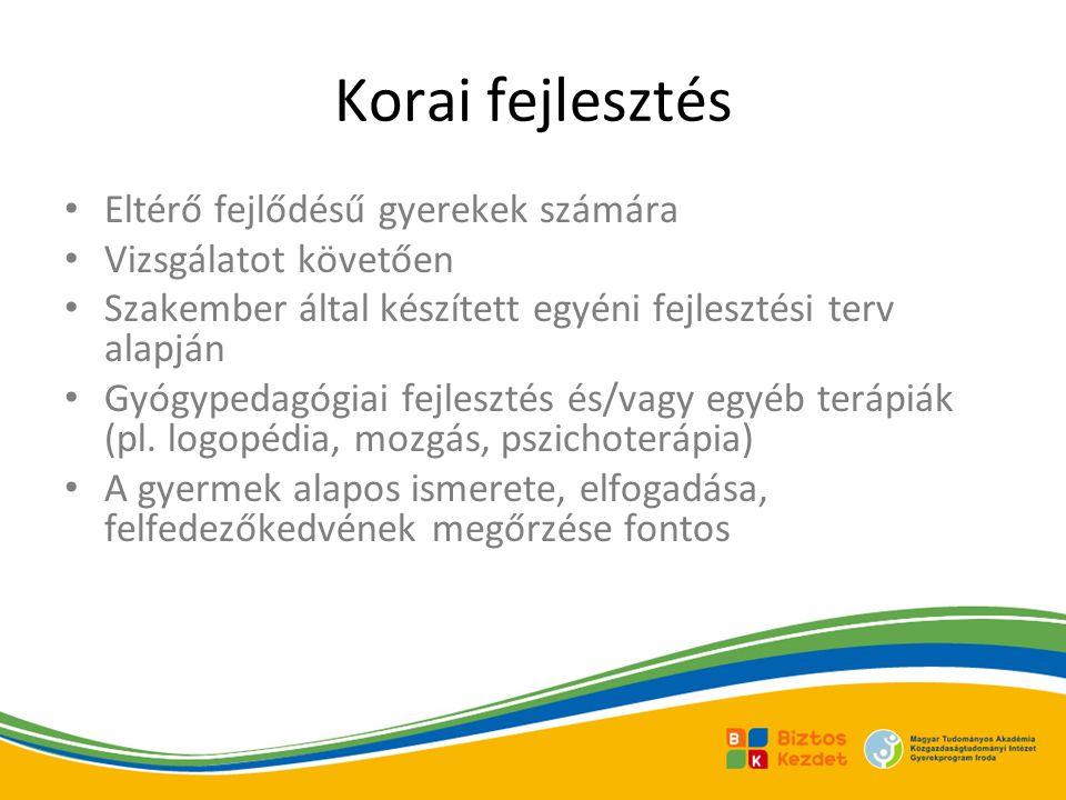 Korai fejlesztés Eltérő fejlődésű gyerekek számára Vizsgálatot követően Szakember által készített egyéni fejlesztési terv alapján Gyógypedagógiai fejlesztés és/vagy egyéb terápiák (pl.