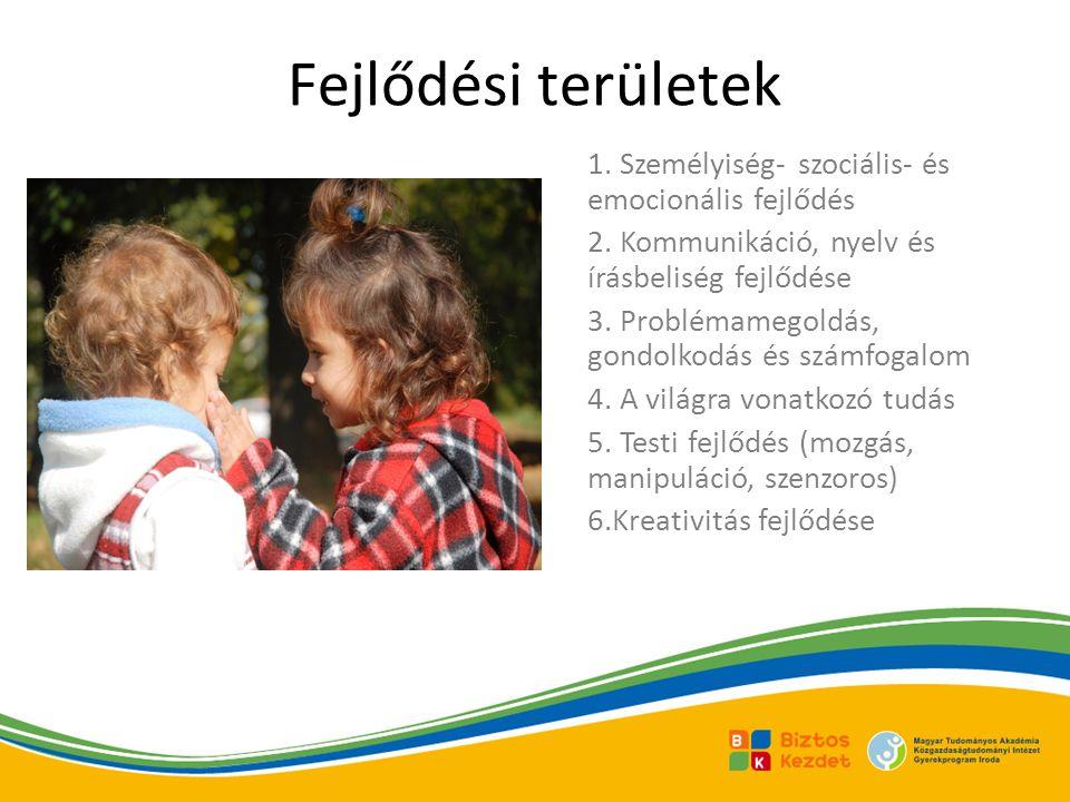 Fejlődési területek 1.Személyiség- szociális- és emocionális fejlődés 2.