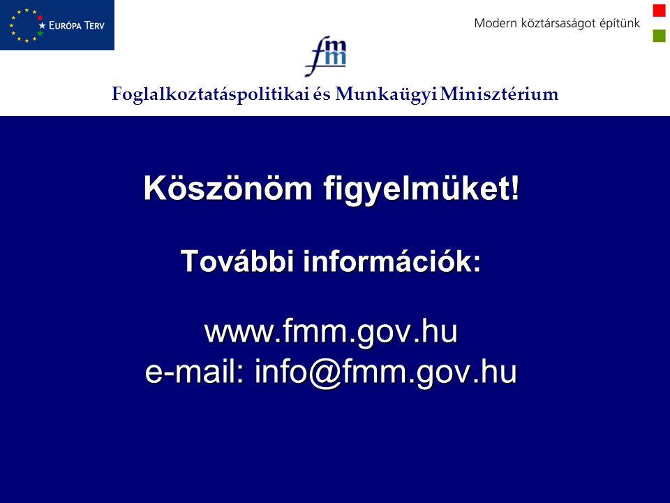 Foglalkoztatáspolitikai és Munkaügyi Minisztérium Köszönöm figyelmüket! További információk: www.fmm.gov.hu e-mail: info@fmm.gov.hu