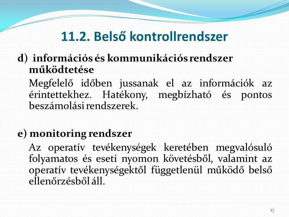 11.2. Belső kontrollrendszer d) információs és kommunikációs rendszer működtetése Megfelelő időben jussanak el az információk az érintettekhez. Hatéko