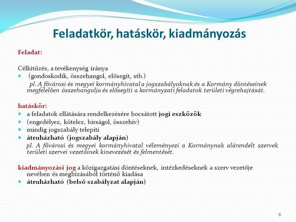 Feladatkör, hatáskör, kiadmányozás Feladat: Célkitűzés, a tevékenység iránya (gondoskodik, összehangol, elősegít, stb.) pl. A fővárosi és megyei kormá