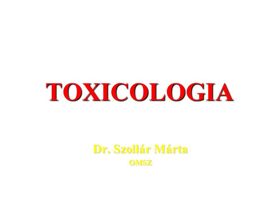 TOXICOLOGIA Dr. Szollár Márta OMSZ