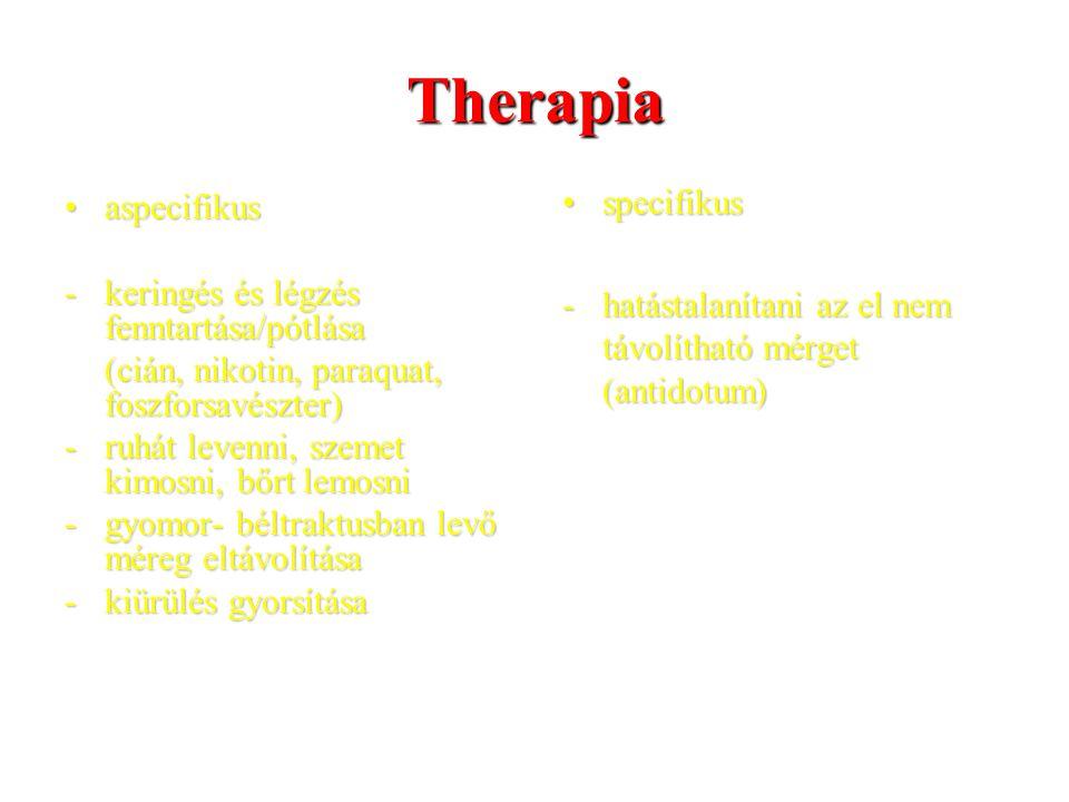 Therapia aspecifikusaspecifikus -keringés és légzés fenntartása/pótlása (cián, nikotin, paraquat, foszforsavészter) -ruhát levenni, szemet kimosni, bő