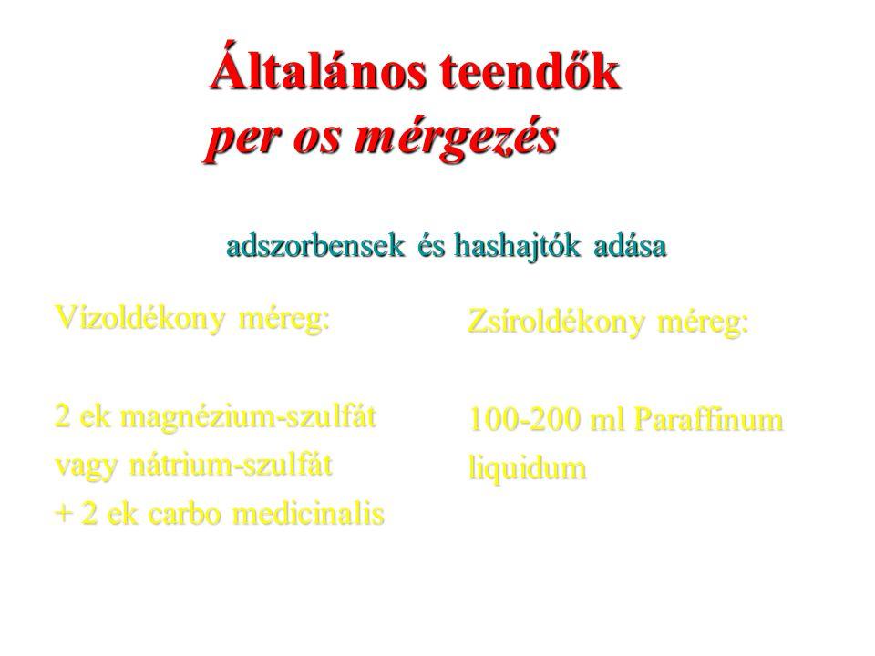 adszorbensek és hashajtók adása Vízoldékony méreg: 2 ek magnézium-szulfát vagy nátrium-szulfát + 2 ek carbo medicinalis Zsíroldékony méreg: 100-200 ml