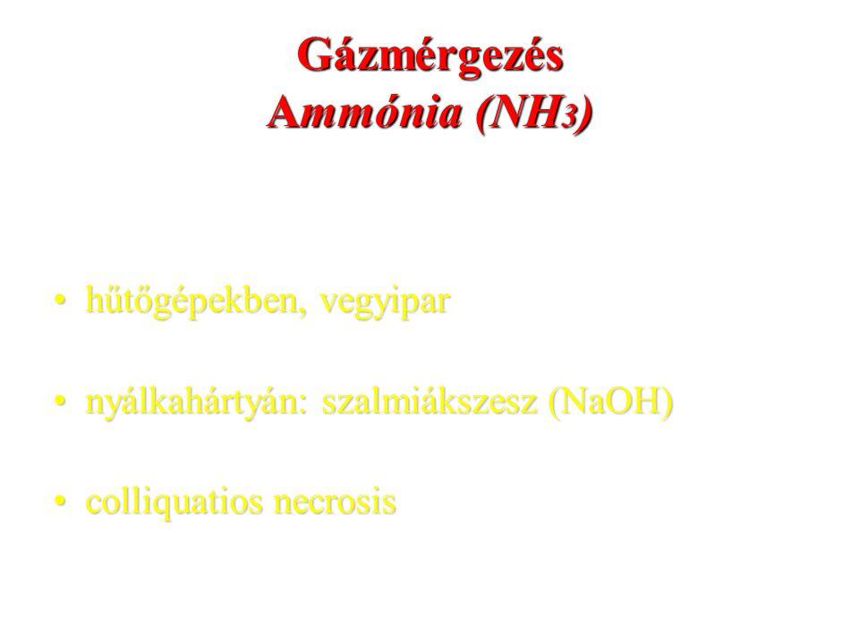Gázmérgezés Ammónia (NH 3 ) hűtőgépekben, vegyiparhűtőgépekben, vegyipar nyálkahártyán: szalmiákszesz (NaOH)nyálkahártyán: szalmiákszesz (NaOH) colliq