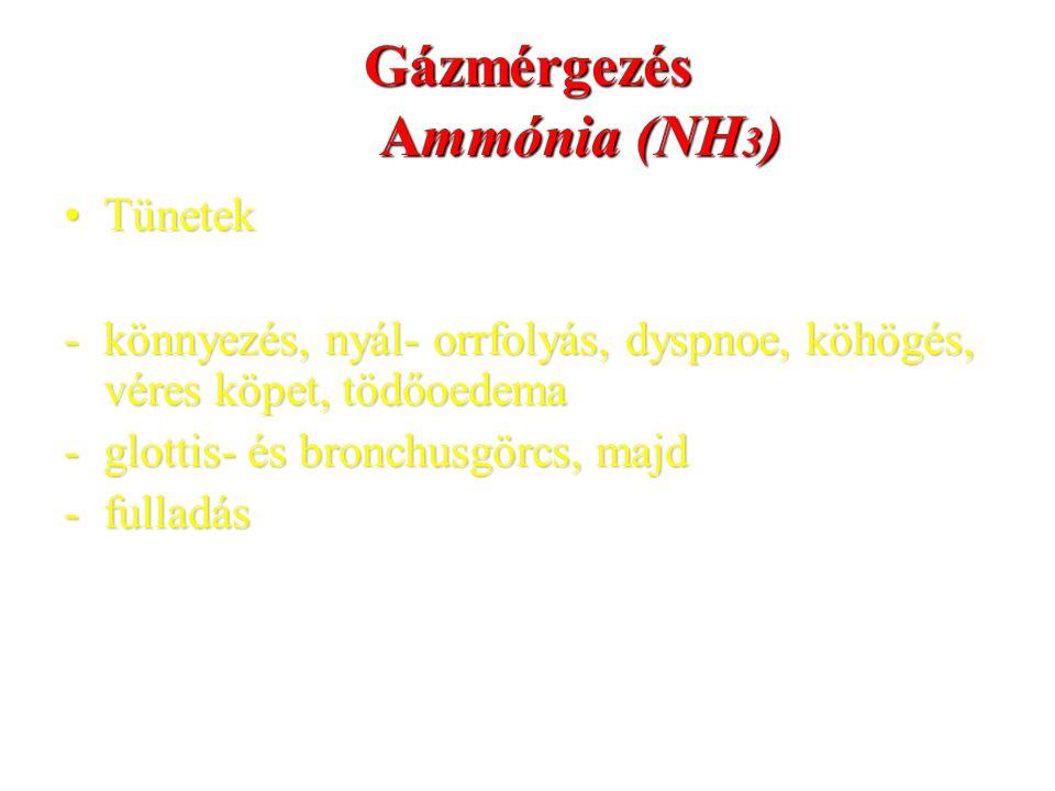 Gázmérgezés Ammónia (NH 3 ) TünetekTünetek -könnyezés, nyál- orrfolyás, dyspnoe, köhögés, véres köpet, tödőoedema -glottis- és bronchusgörcs, majd -fu