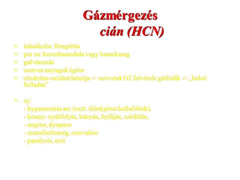 Gázmérgezés cián (HCN) inhalációs: féregírtásinhalációs: féregírtás per os: keserűmandula vagy barackmagper os: keserűmandula vagy barackmag galvánozá