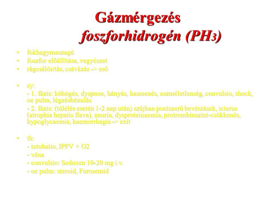 Gázmérgezés foszforhidrogén (PH 3 ) fokhagymaszagúfokhagymaszagú foszfor előállítása, vegyészetfoszfor előállítása, vegyészet rágcsálóirtás, csávázás