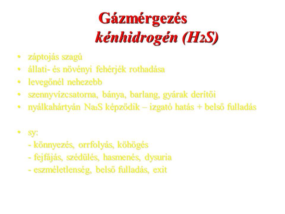 Gázmérgezés kénhidrogén (H 2 S) záptojás szagúzáptojás szagú állati- és növényi fehérjék rothadásaállati- és növényi fehérjék rothadása levegőnél nehe
