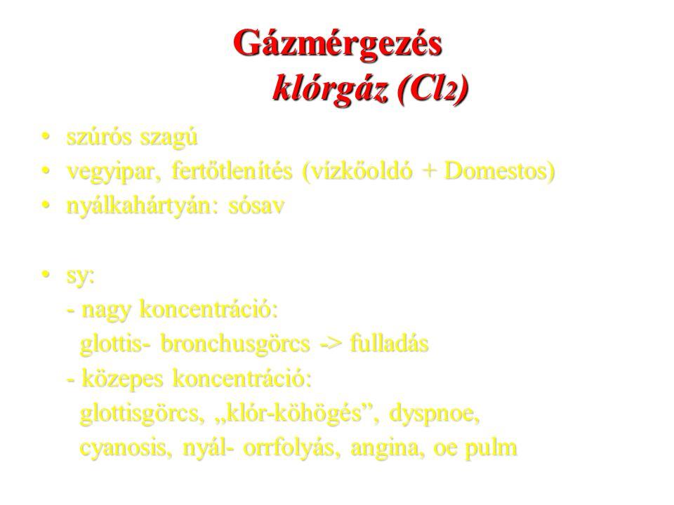 Gázmérgezés klórgáz (Cl 2 ) szúrós szagúszúrós szagú vegyipar, fertőtlenítés (vízkőoldó + Domestos)vegyipar, fertőtlenítés (vízkőoldó + Domestos) nyál
