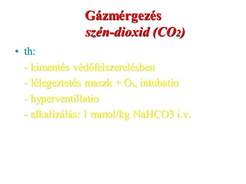 Gázmérgezés szén-dioxid (CO 2 ) th:th: - kimentés védőfelszerelésben - lélegeztetés maszk + O 2, intubatio - hyperventillatio - alkalizálás: 1 mmol/kg