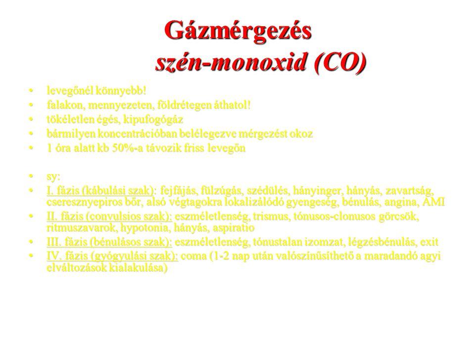 Gázmérgezés szén-monoxid (CO) levegőnél könnyebb!levegőnél könnyebb! falakon, mennyezeten, földrétegen áthatol!falakon, mennyezeten, földrétegen áthat