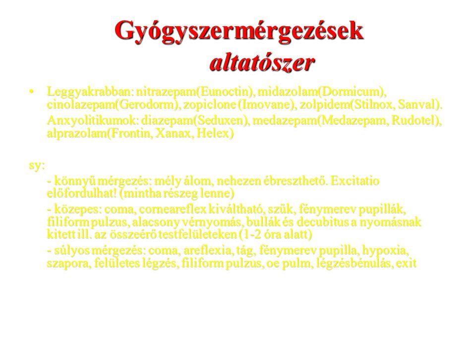 Gyógyszermérgezések altatószer Leggyakrabban: nitrazepam(Eunoctin), midazolam(Dormicum), cinolazepam(Gerodorm), zopiclone (Imovane), zolpidem(Stilnox,