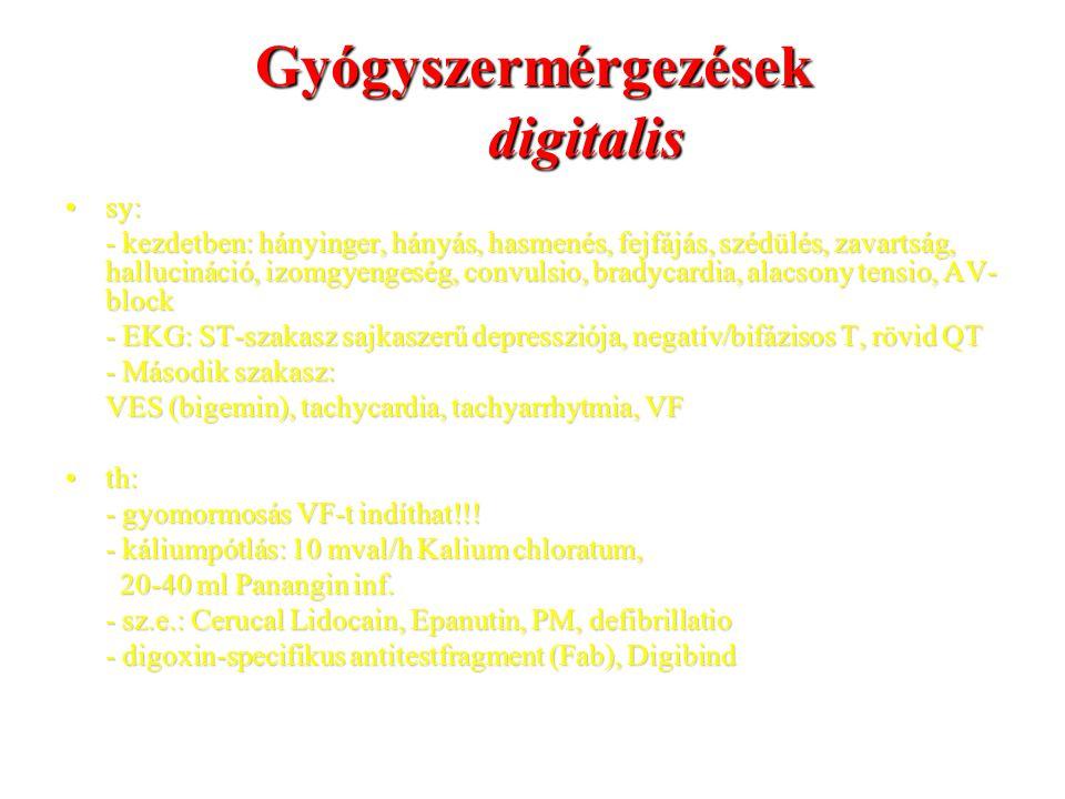 Gyógyszermérgezések digitalis sy:sy: - kezdetben: hányinger, hányás, hasmenés, fejfájás, szédülés, zavartság, hallucináció, izomgyengeség, convulsio,