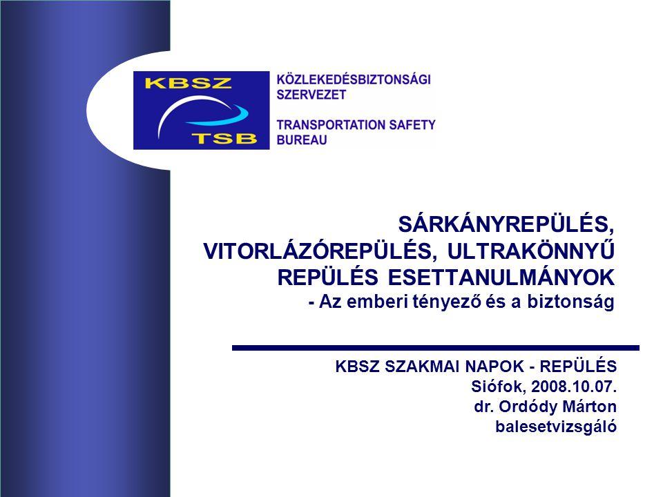 SÁRKÁNYREPÜLÉS, VITORLÁZÓREPÜLÉS, ULTRAKÖNNYŰ REPÜLÉS ESETTANULMÁNYOK - Az emberi tényező és a biztonság KBSZ SZAKMAI NAPOK - REPÜLÉS Siófok, 2008.10.