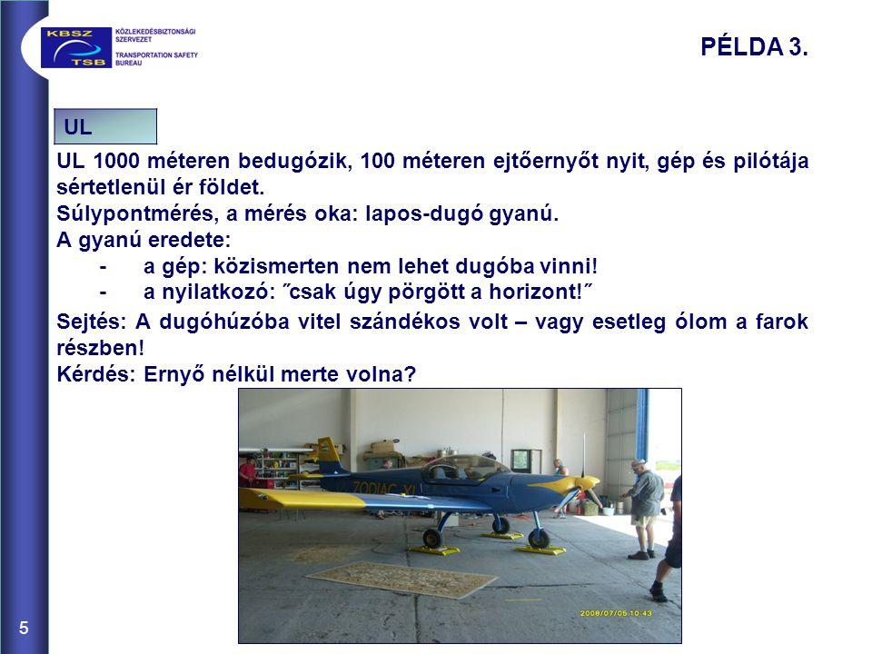 UL 1000 méteren bedugózik, 100 méteren ejtőernyőt nyit, gép és pilótája sértetlenül ér földet. Súlypontmérés, a mérés oka: lapos-dugó gyanú. A gyanú e