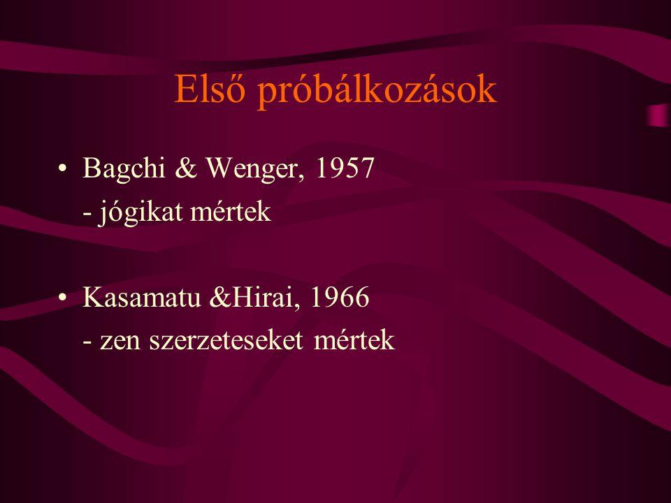 Első próbálkozások Bagchi & Wenger, 1957 - jógikat mértek Kasamatu &Hirai, 1966 - zen szerzeteseket mértek